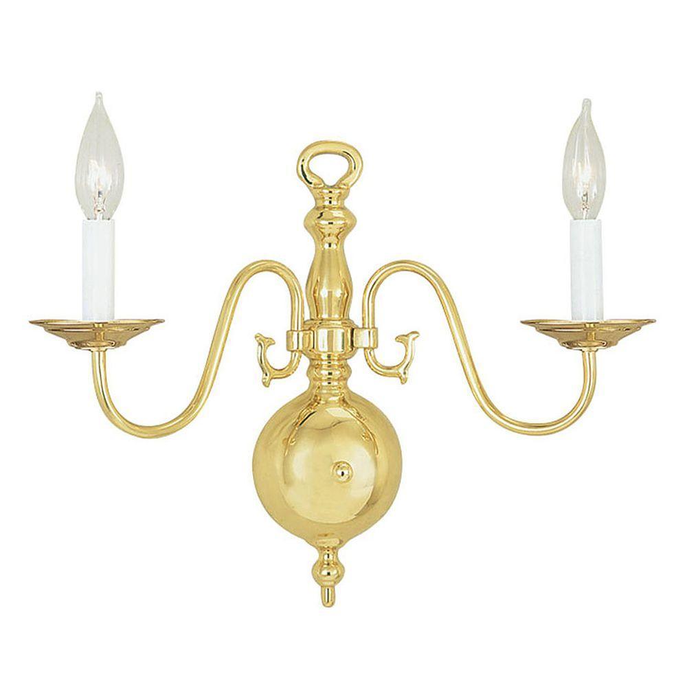 Providence 2-Light Polished Brass Sconce