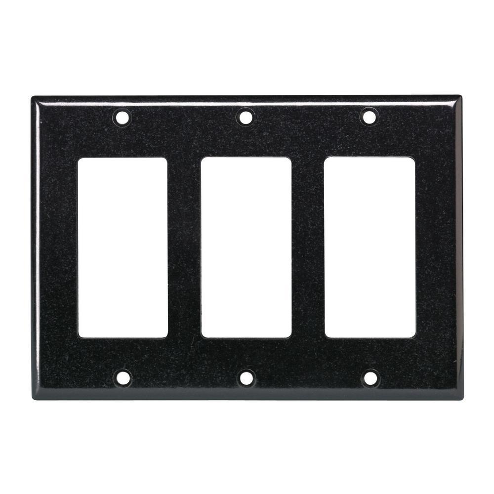 3-Gang Decora Wall Plate, Black