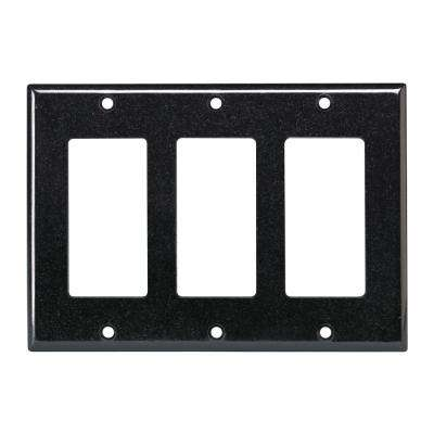 3-Gang Decora Wall Plate, Black