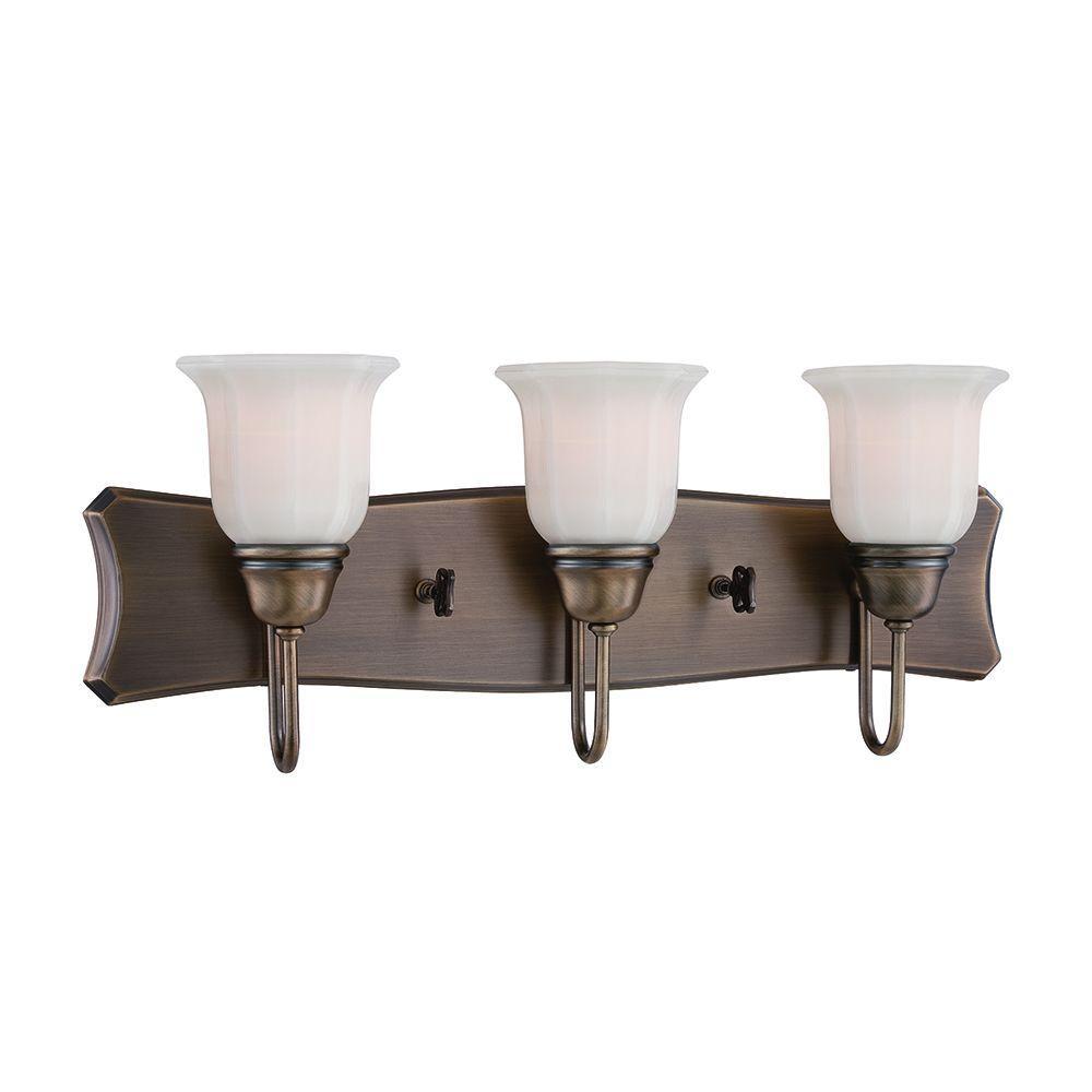 Designers Fountain Astor 3-Light Old Satin Brass Bath Bar Light
