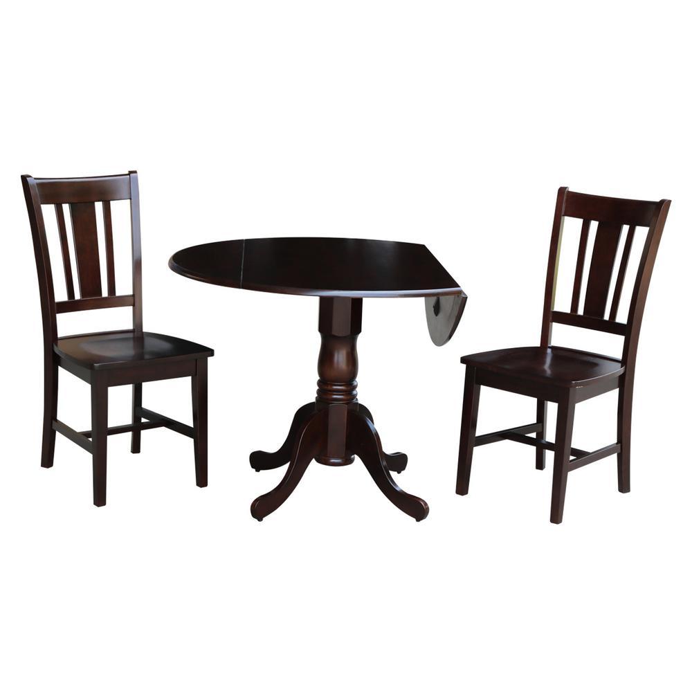 Solid Wood 3-Piece Rich Mocha Dropleaf Dining Set