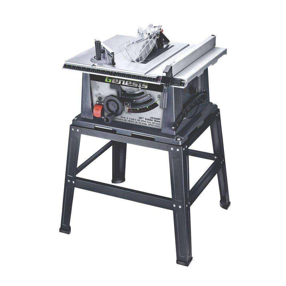 Genesis 10 In 15 Amp Portable Table Saw With Stand