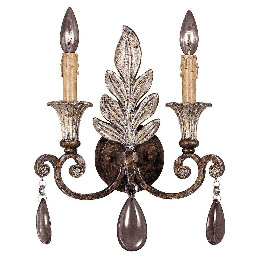 2-Light New Tortoise Shell and Silver Sconce with Clear Crystals