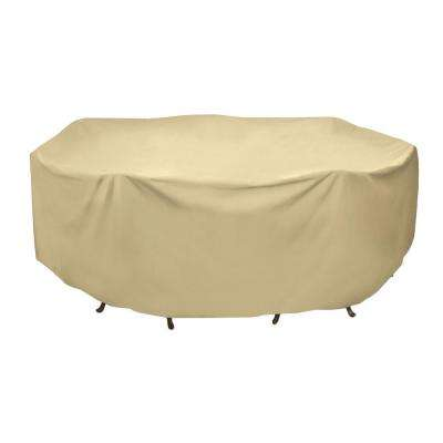 108 in. Round Patio Table Set Cover in Khaki
