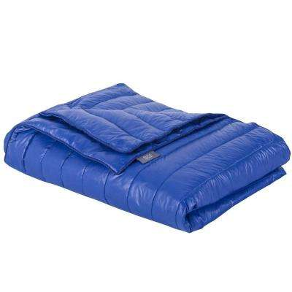 Blue Nylon Waterproof White Goose Down Indoor/Outdoor Camping Blanket