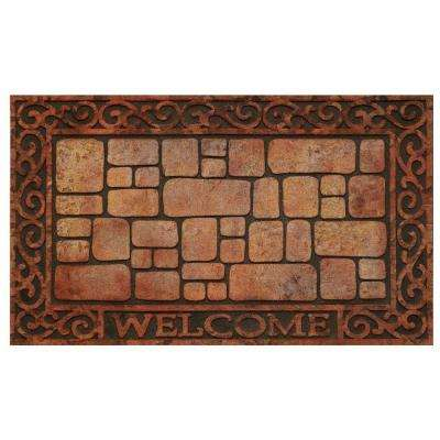 Paver Scroll 18 in. x 30 in. Raised Rubber Door Mat