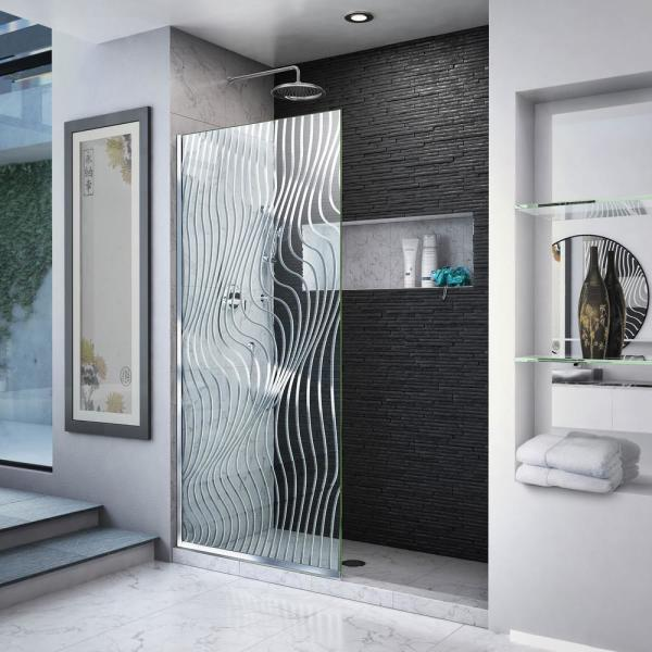 Platinum Linea Surf 34 in. W x 72 in. H Frameless Fixed Shower Screen in Polished Stainless Steel without Handle
