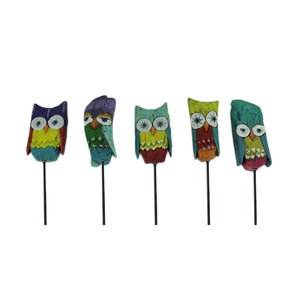 Colorful Whimsical Owl Art Garden Stake (Set of 5)
