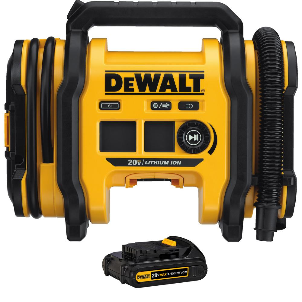 DEWALT 20-Volt MAX Cordless Inflator with 1.5Ah Battery Included