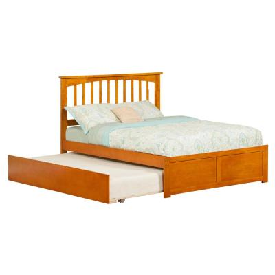 Mission Caramel Full Platform Bed with Flat Panel Foot Board and Twin Size Urban Trundle Bed