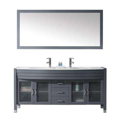 Ava 70.87 in. W x 21.65 in. D x 33.46 in. H Grey Vanity With Stone Vanity Top With White Round Basin and Mirror