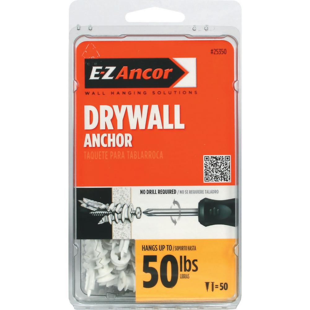 E-Z Ancor Twist-N-Lock 50 lb. Philips Flat-Head Medium Duty Self-Drilling Drywall Anchors (50-Pack)