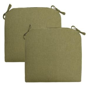 Green Solid Rapid-Dry Deluxe Square Outdoor Seat Cushion (2-Pack)