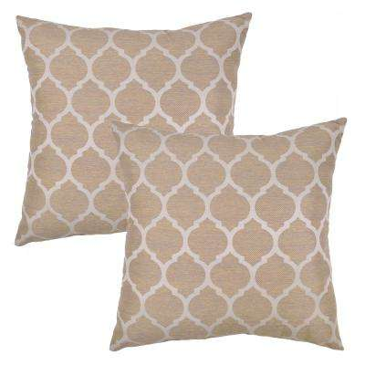 Toffee Ogee/Toffee Square Outdoor Throw Pillow (2-Pack)