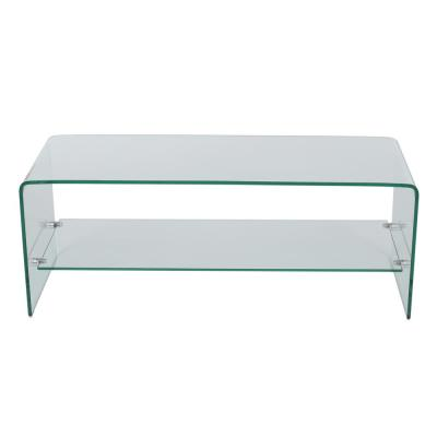 39 in. Clear Glass TV Stand Fits TVs Up to 36 in. with Open Storage