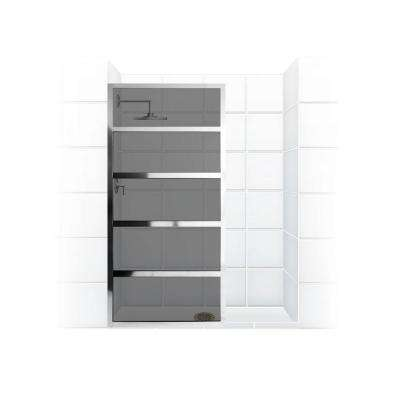 Gridscape Series V2 30 in. x 76 in. Divided Light Shower Screen in Chrome and Smoked Grey Glass