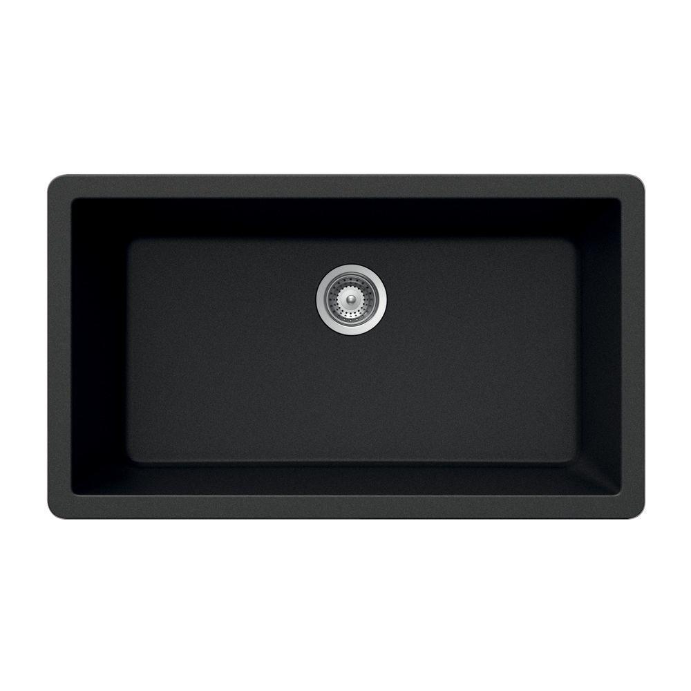 HOUZER Montano Series Undermount Granite 33x18.438x9.5 0-hole Single Basin Kitchen Sink in Carbonium-DISCONTINUED