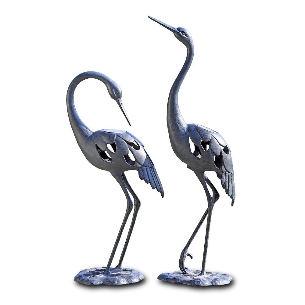 Stylized Crane Pair Garden Statue