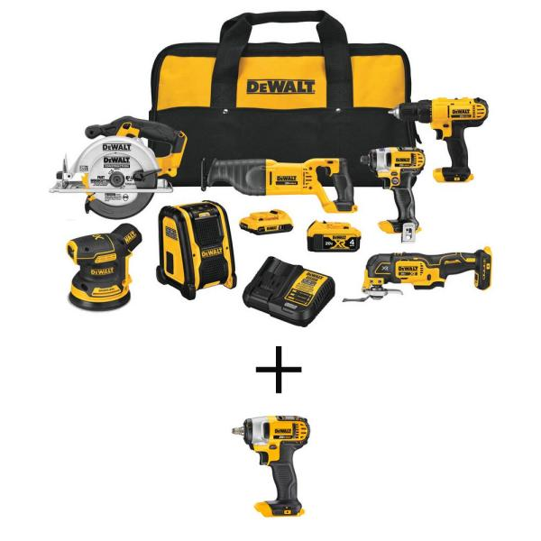 20-Volt MAX Li-Ion Cordless Combo Kit (7-Tool) with 20-V Li-Ion Cordless 3/8 in. Impact Wrench with Hog Ring (Tool-Only)