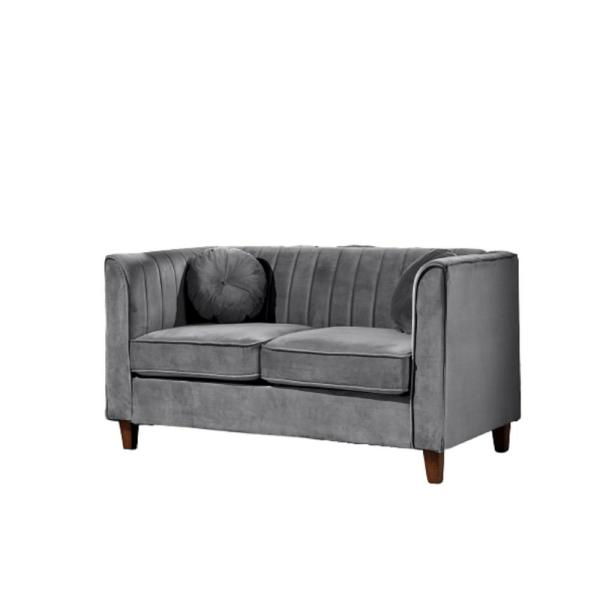 Us Pride Furniture Lowery Kitts 55 In Grey Velvet 2 Seater Chesterfield Loveseat With Square Arms S5533 L The Home Depot
