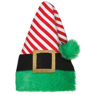 15 in. x 11 in. Elf Striped Christmas Hat (2-Pack)