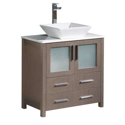 Torino 30 in. Bath Vanity in Gray Oak with Glass Stone Vanity Top in White with White Basin