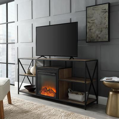 60 in. Rustic Oak Composite TV Stand 69 in. with Electric Fireplace