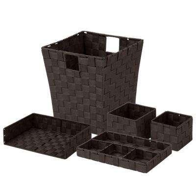 5-Piece Polypropylene Woven Desk Organization Kit in Espresso