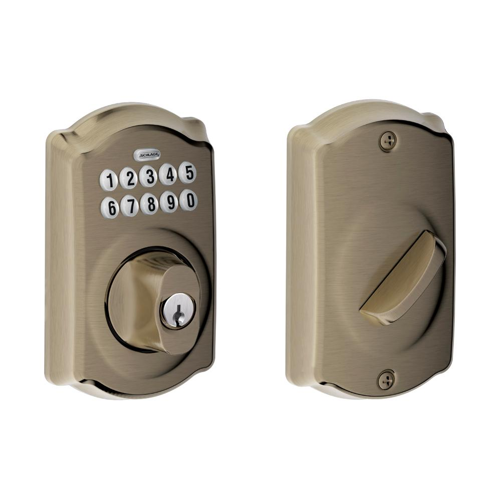 schlage locks. Schlage Camelot Antique Brass Keypad Electronic Deadbolt-BE365 CAM 609 - The Home Depot Locks