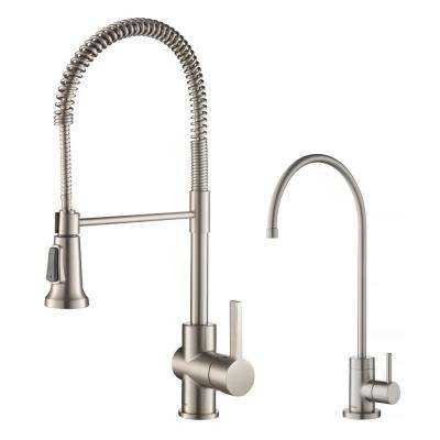 Britt Commercial 1-Handle Pull-Down Kitchen Faucet and Purita Water Filtration Faucet in Spot Free Stainless Steel