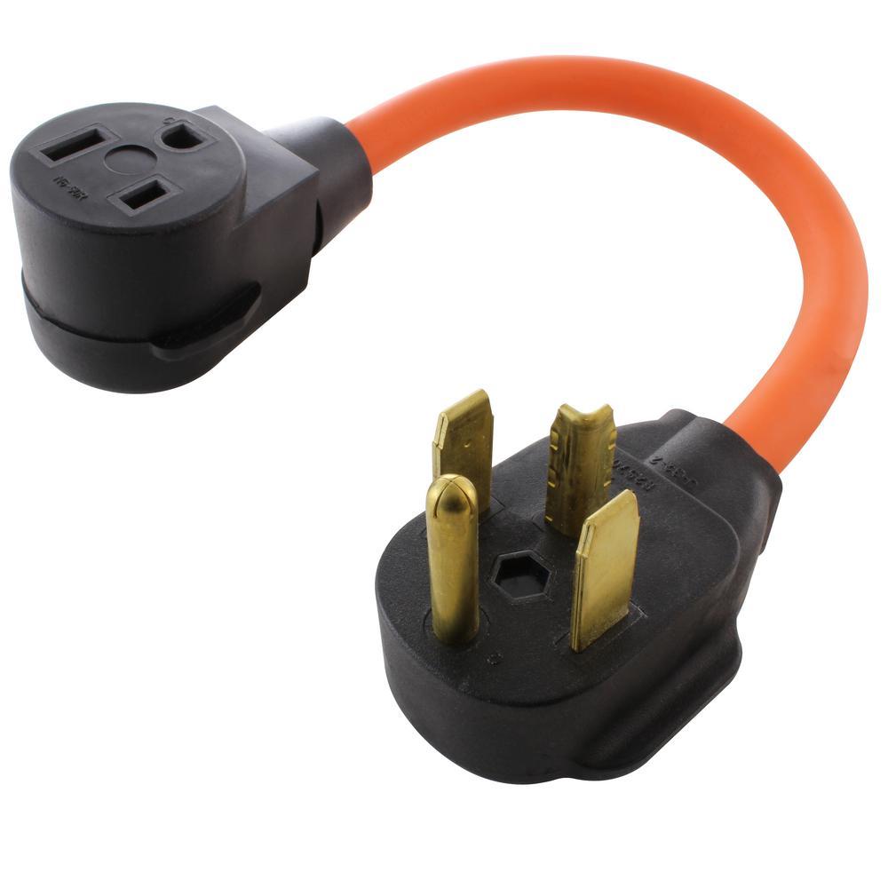 1.5 ft. 30 Amp 4-Prong 14-30P Dryer Plug to 50 Amp 250-Volt Welder Adapter (NEMA 14-30P to 6-50R)