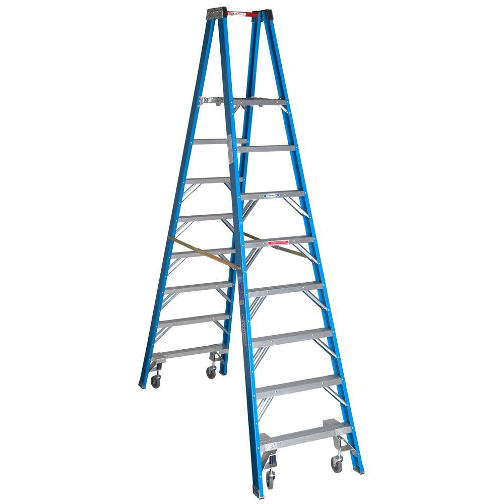 werner 14 ft reach fiberglass platform twin step ladder with casters 250 lb load capacity type. Black Bedroom Furniture Sets. Home Design Ideas