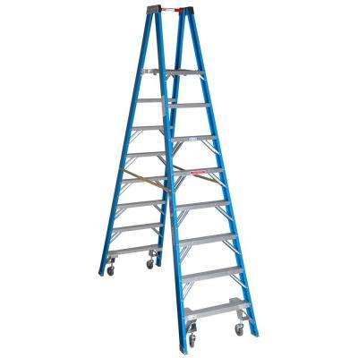 14 ft. Reach Fiberglass Platform Twin Step Ladder with Casters 250 lb. Load Capacity Type I Duty Rating