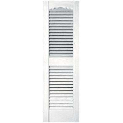12 in. x 39 in. Louvered Vinyl Exterior Shutters Pair #001 White