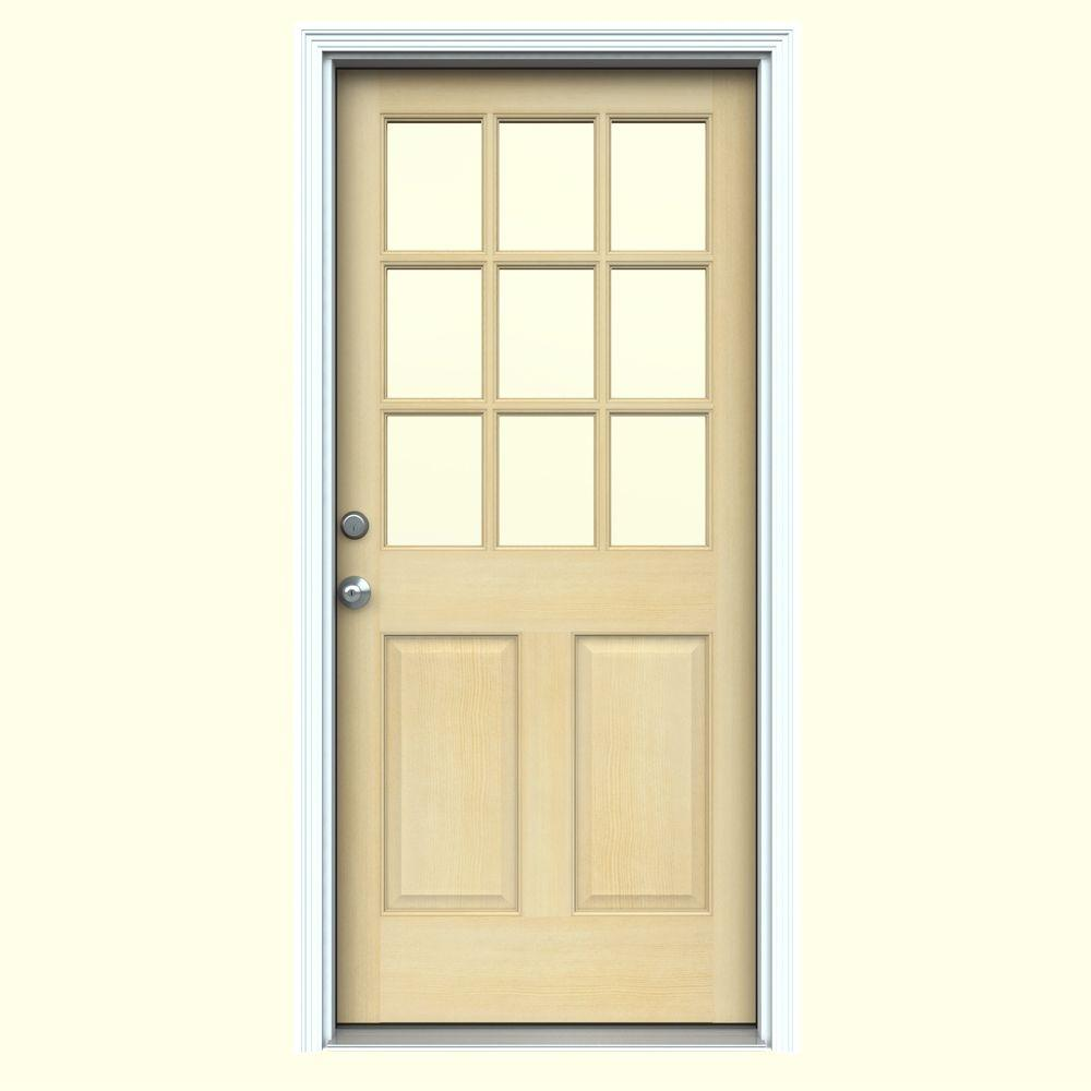 JELD-WEN 36 in. x 80 in. 9 Lite Unfinished Wood Prehung Right-Hand Inswing Front Door w/Primed Rot Resistant Jamb and Brickmould