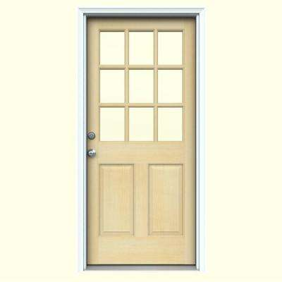 36 in. x 80 in. 9 Lite Unfinished Wood Prehung Right-Hand Inswing Front Door w/Primed Rot Resistant Jamb and Brickmould