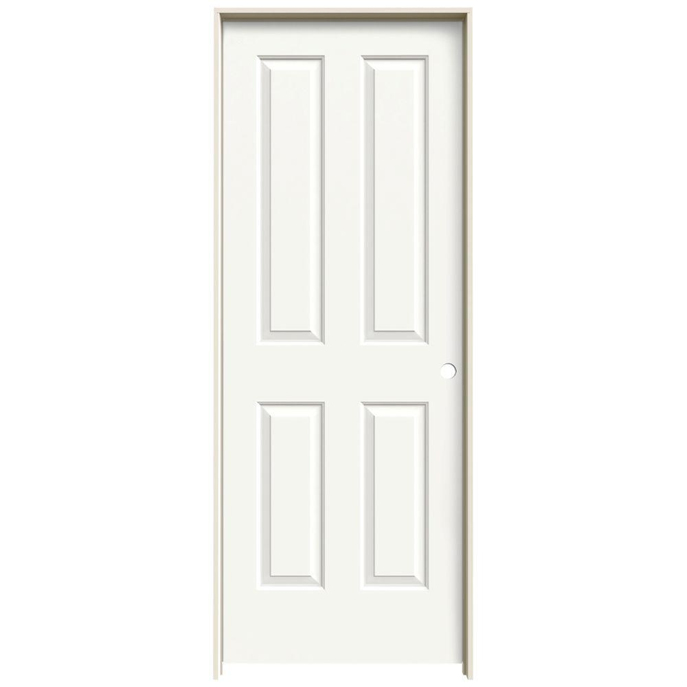 JELD-WEN 32 in. x 80 in. Coventry White Painted Left-Hand Smooth Molded Composite MDF Single Prehung Interior Door