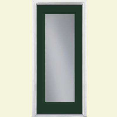 32 in. x 80 in. Full Lite Conifer Right-Hand Inswing Painted Smooth Fiberglass Prehung Front Exterior Door w/ Brickmold