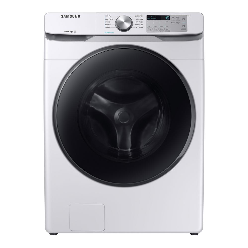 Samsung 4 5 cu  ft  High-Efficiency White Front Load Washing Machine with  Steam, ENERGY STAR