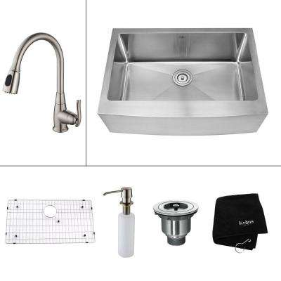 All-in-One Farmhouse Apron Front Stainless Steel 30 in. Single Bowl Kitchen Sink with Faucet in Satin Nickel