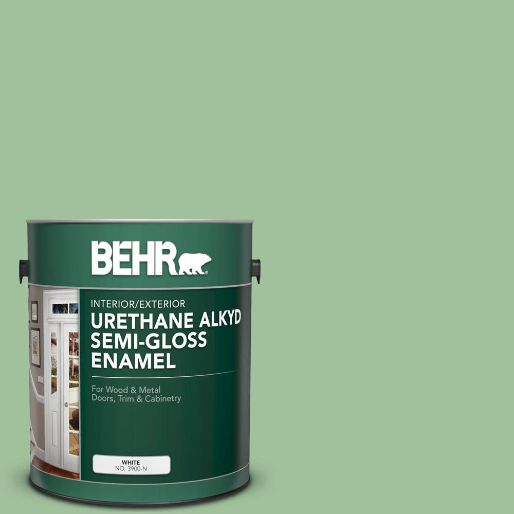 1 gal. #BIC-25 Spring Sprig Urethane Alkyd Semi-Gloss Enamel Interior/Exterior Paint