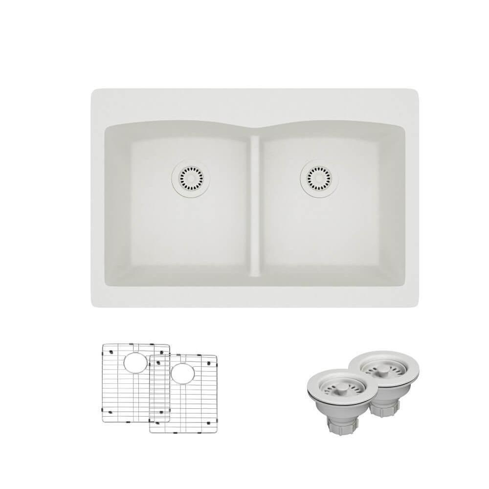 Topmount Composite Granite 33 in. Double Bowl Kitchen Sink in Ivory