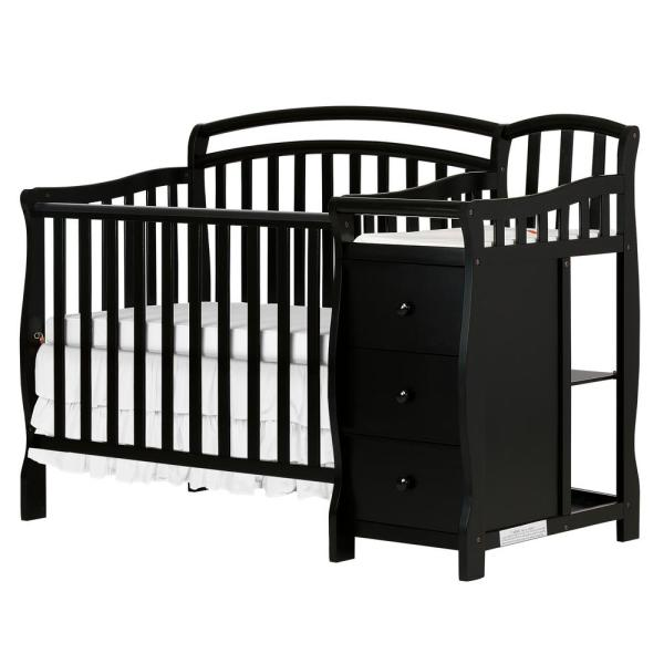 Casco 4-IN-1 Mini Crib and Changing Table in Black