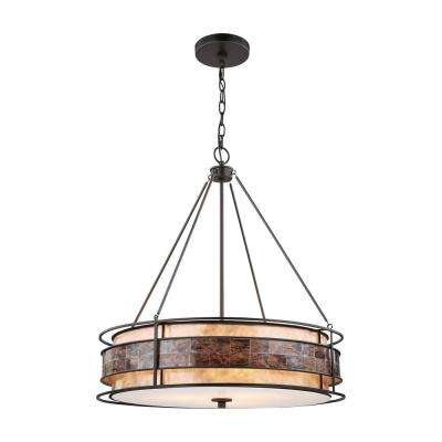 Tremont 3-Light Large Tiffany Bronze Chandelier with Tan and Brown Mica Shade