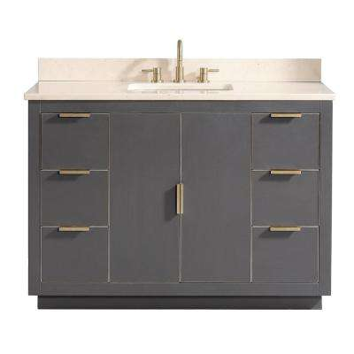 Austen 49 in. W x 22 in. D Bath Vanity in Gray with Gold Trim with Marble Vanity Top in Crema Marfil with Basin