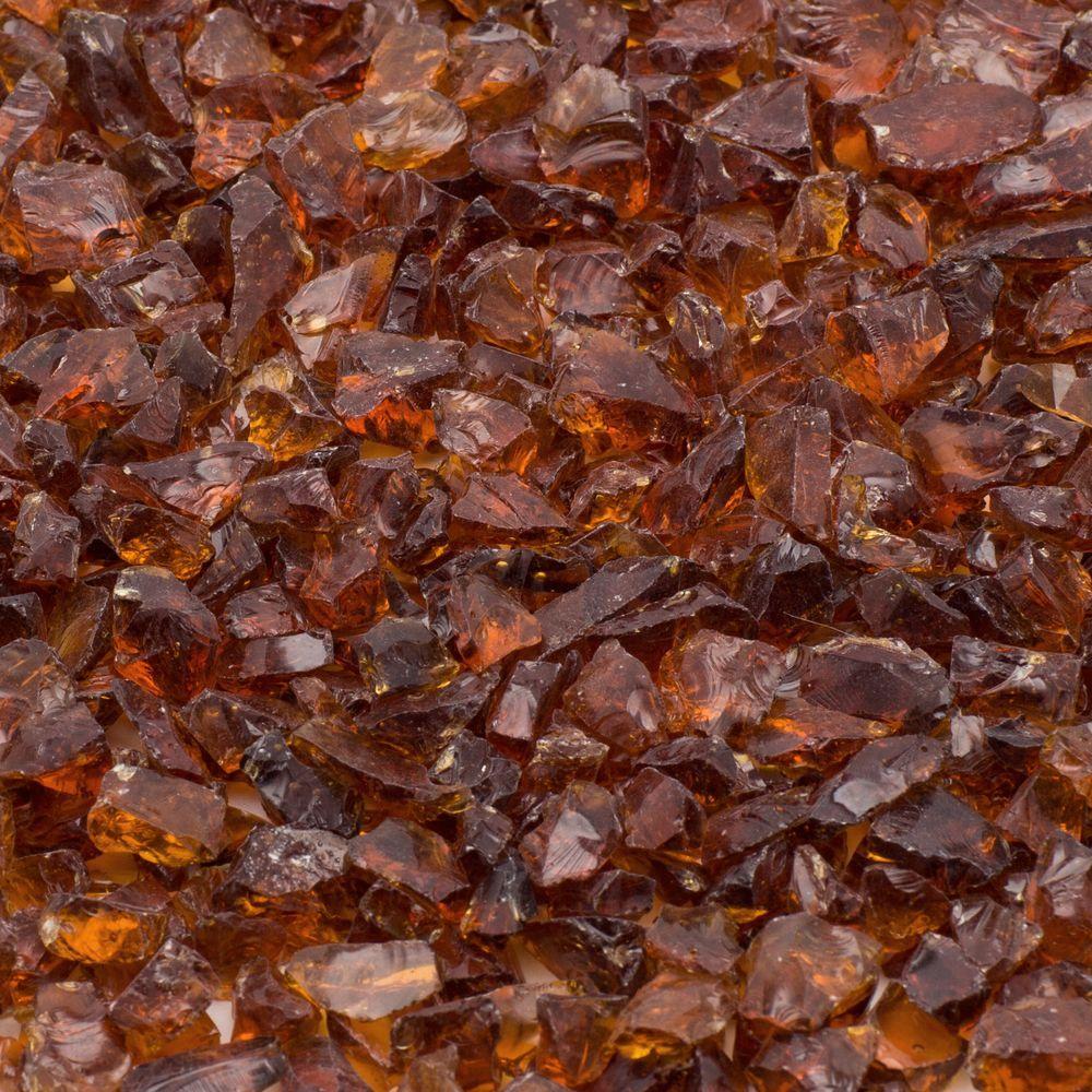 1/4 in. 10 lb. Amber Landscape Fire Glass