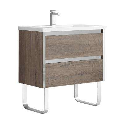 Braxton 32 in. W x 18 in. D Bath Vanity in Walnut with Resin Vanity Top with White Basin