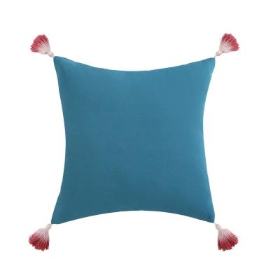Coco Paradise Blue Floral Hypoallergenic Down Alternative 18 in. x 16 in. Throw Pillow