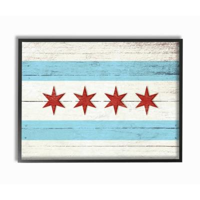 Design by Artist Daphne Polselli 24 x 30 Stupell Industries Chicago Flag Distressed Wood Look Canvas Wall Art