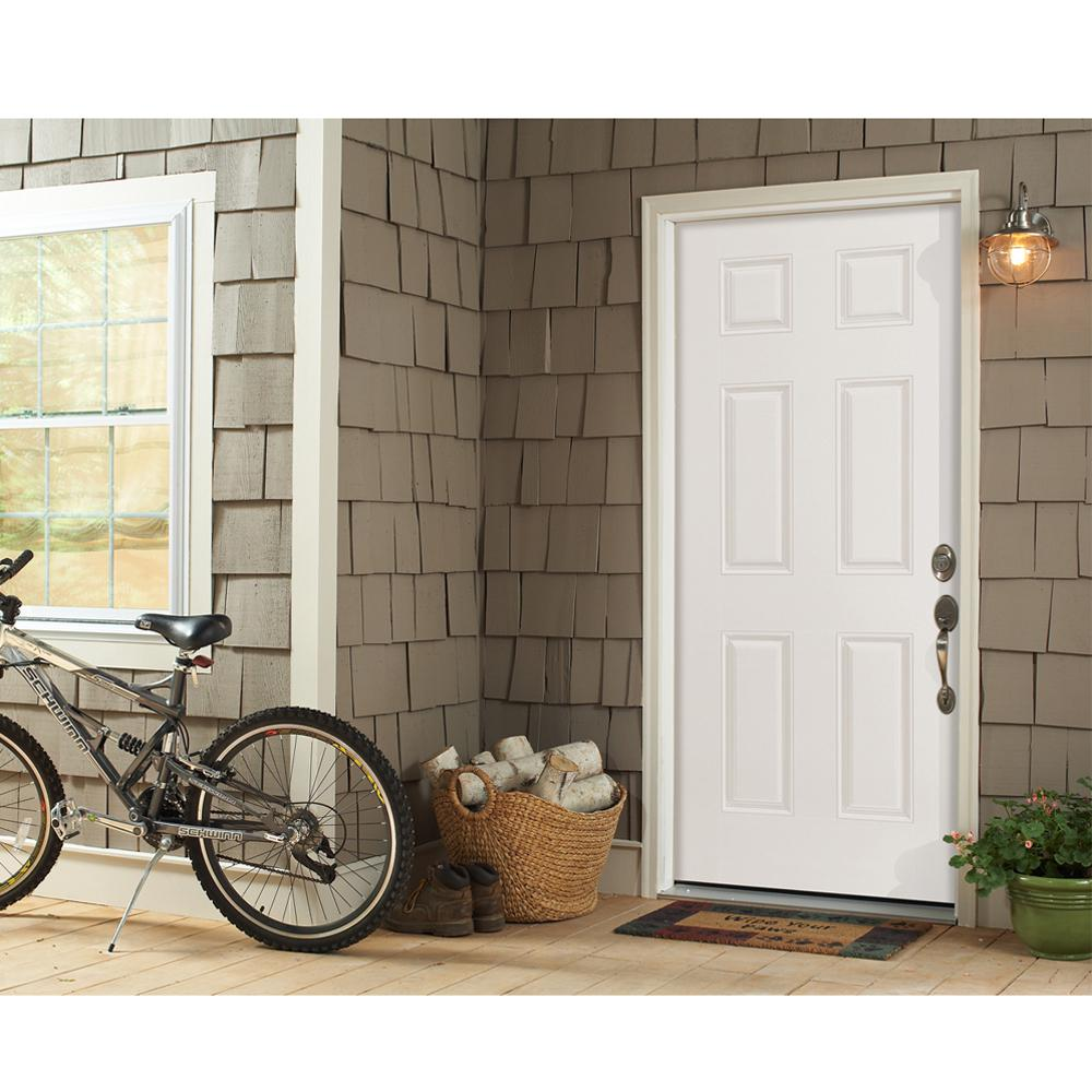 Masonite 32 In X 80 In Fire Rated Left Hand Inswing 6 Panel Steel Fire Prehung Commercial Exterior Door With Wood Frame